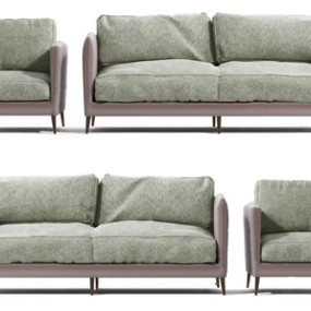 现代皮质双人沙发组合3D模型【ID:636238526】