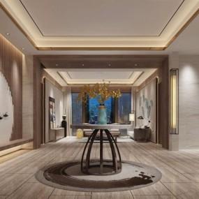 新中式客厅玄关3D模型【ID:227883733】
