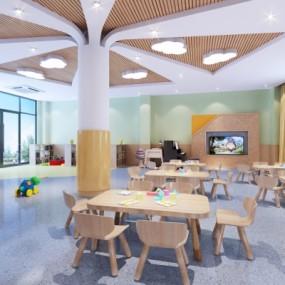 现代幼儿园教室3D模型【ID:528454844】