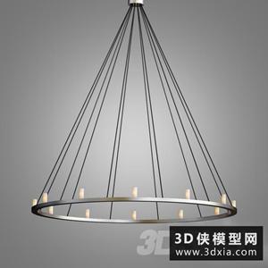 现代圆圈蜡烛吊灯国外3D模型【ID:829319756】
