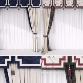新中式布艺窗帘组合3D模型【ID:327793817】