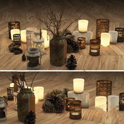 新中式烛台3D模型【ID:124897234】
