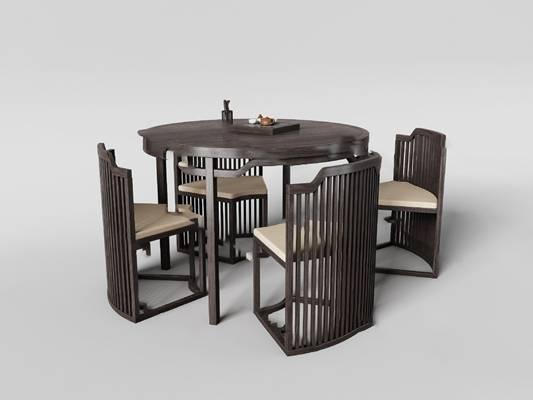 中式餐桌椅组合3D模型【ID:120613856】