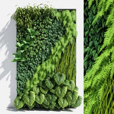 現代綠植背景墻3D模型【ID:127775151】
