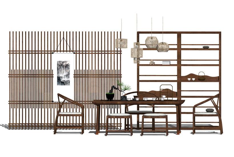 中式茶桌SU模型【ID:436670215】