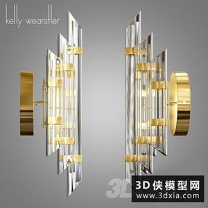 現代金屬壁燈國外3D模型【ID:829322871】