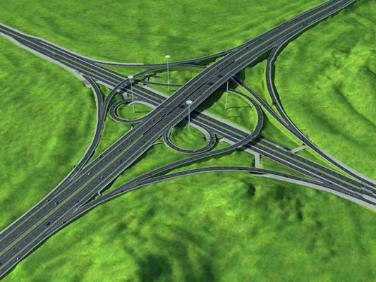 现代道路3D模型【ID:124892290】