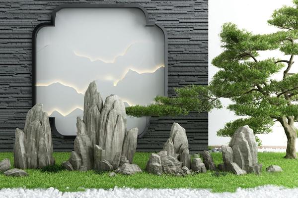 新中式假山松树园艺小品3D模型【ID:147041425】