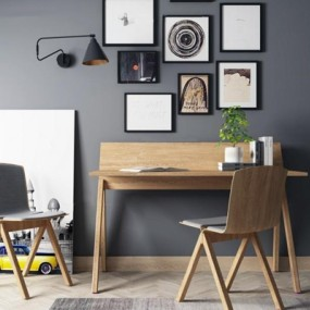 北欧书桌椅装饰画组合3D模型【ID:327912759】