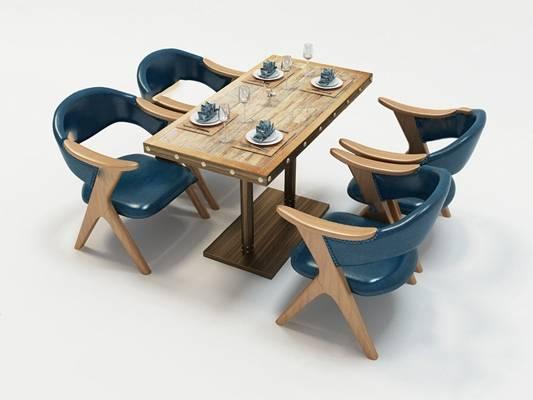 餐桌椅组合3D模型【ID:120025824】