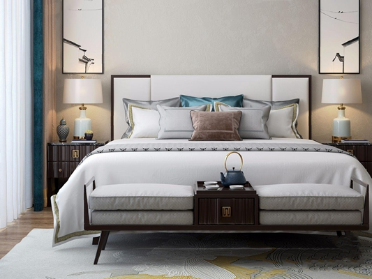 新中式雙人床床頭柜組合3D模型【ID:728300091】