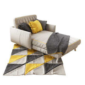 現代布藝貴妃椅地毯組合3D模型【ID:127753380】
