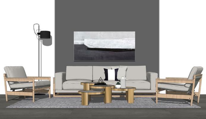 现代沙发茶几组合SU模型【ID:747337663】