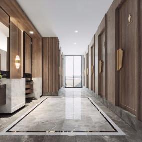 新中式酒店公共衛生間3d模型【ID:743275097】