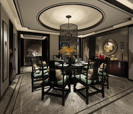 中式餐厅3D模型【ID:828125504】