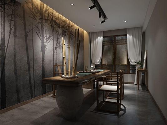 新中式茶室3D模型【ID:328249701】