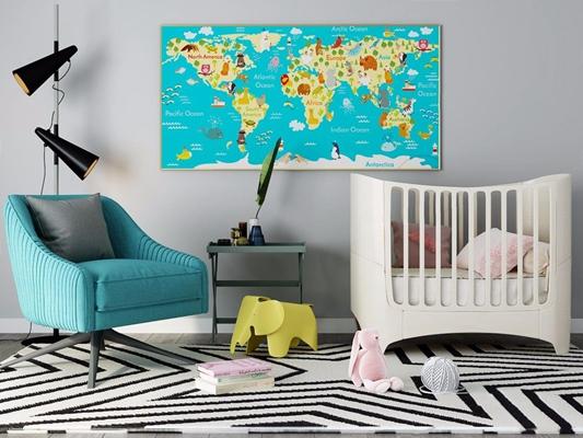 北歐嬰兒床3D模型【ID:728096151】
