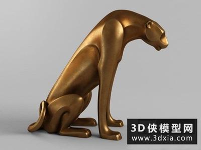 豹子雕塑国外3D模型【ID:929448704】