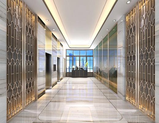 新古典电梯厅过道3D模型【ID:427976888】