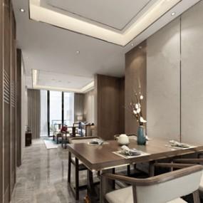 新中式客餐厅3D模型【ID:536239004】