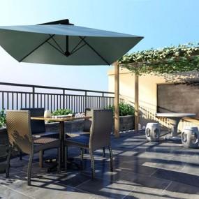 现代别墅阳台户外休闲椅葡萄架组合3D模型【ID:928337993】
