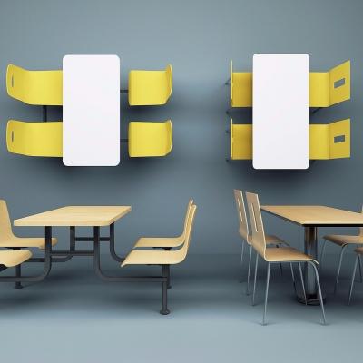 现代实木快餐桌椅组合3D模型【ID:328439417】