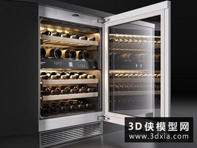 恒温酒柜国外3D模型【ID:129390738】