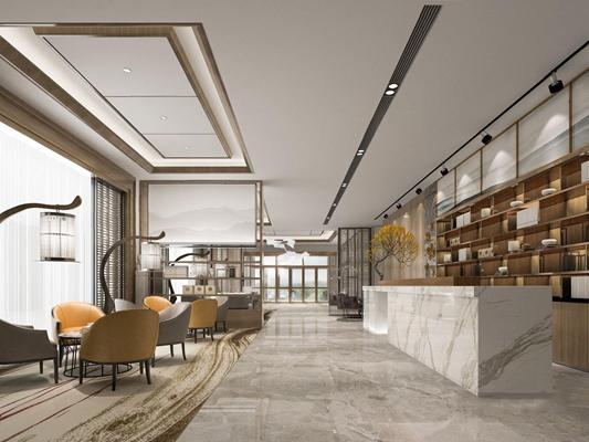 新中式售楼处休息区3D模型【ID:427970556】