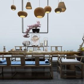 新中式茶桌椅3D模型【ID:327920674】