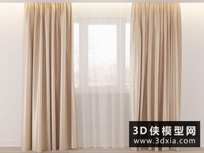 现代窗帘国外3D模型【ID:329516858】