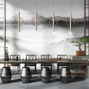 新中式茶桌椅3D模型【ID:841802967】