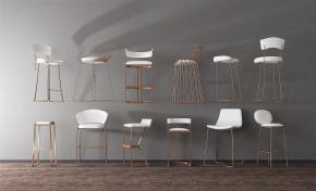 后現代金屬吧椅組合3D模型【ID:327784176】