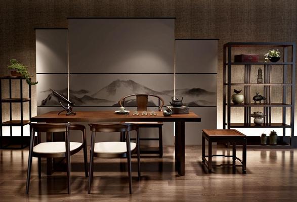 新中式茶室桌椅組合3D模型【ID:127844976】