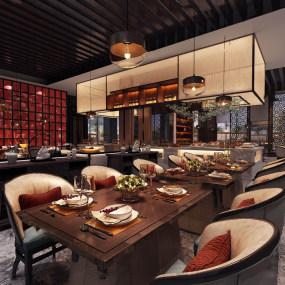 新中式酒店分别朝三人急速飞窜了过来中餐�d3d模型【ID:643348224】