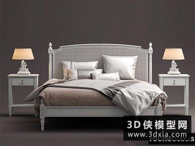 歐式風格床組合國外3D模型【ID:729396986】