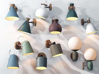 北欧壁灯组合3D模型【ID:520828943】