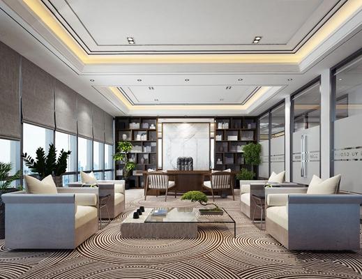 新中式董事长办公室3D模型【ID:728091699】