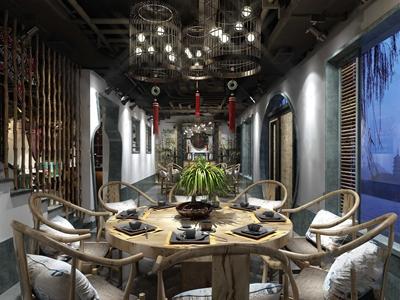 新中式餐厅火锅店包厢3D模型【ID:641710513】