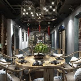 新中式餐厅火锅店包厢 3D模型【ID:641710513】