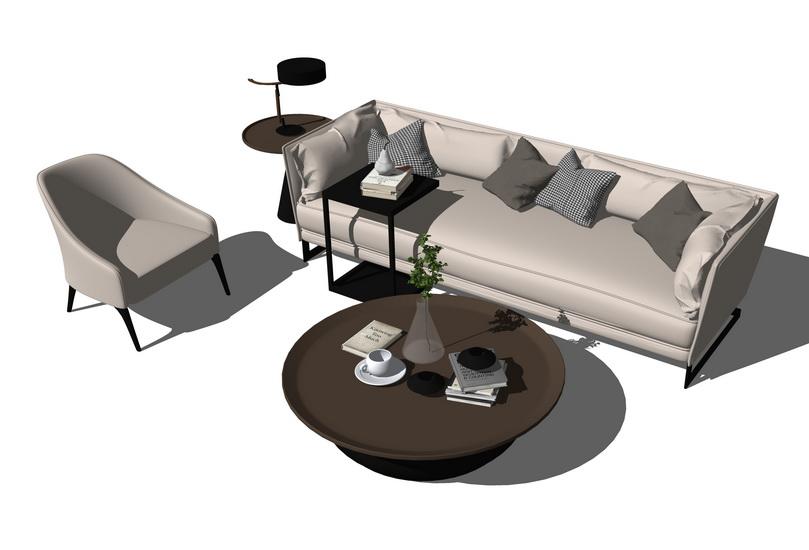 北欧风格沙发茶几组合SU模型【ID:436693159】