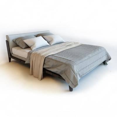 现代双人床3D模型下载【ID:719450042】