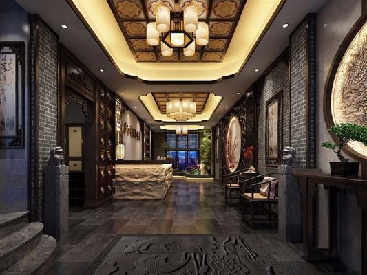 新中式足療養生館美容院足療大廳3D模型【ID:427977678】