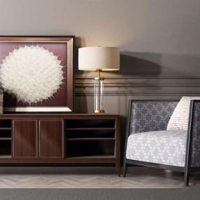 港式现代电视柜单人沙发组合3D模型【ID:928331142】