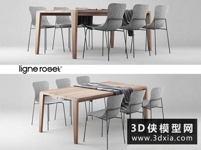 現代餐桌椅組合國外3D模型【ID:729494713】