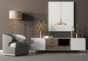 現代實木電視柜單人沙發掛畫燈具擺件組合3D模型【ID:927822083】
