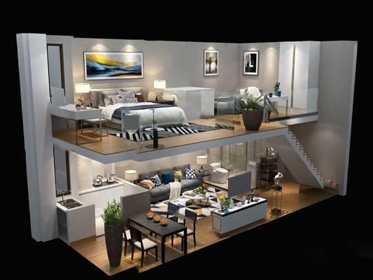 现代公寓3D模型【ID:124888235】