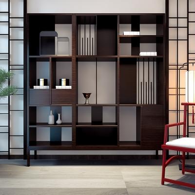 新中式實木裝飾柜單椅落地燈擺件組合3D模型【ID:927839295】