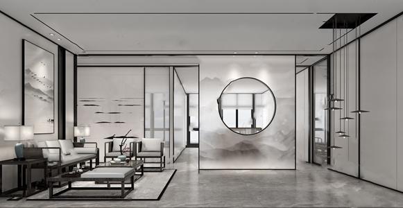新中式办公会客厅3D模型【ID:820809158】