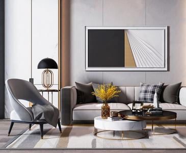 現代輕奢沙發椅子茶幾組合3D模型【ID:641805771】