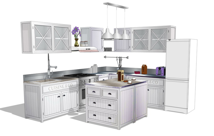 厨房橱柜组合SU模型【ID:936698376】